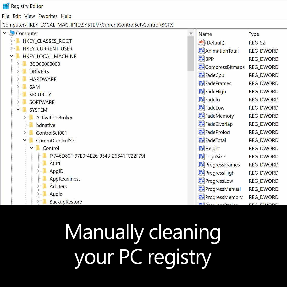 Manually cleaning your PC registry
