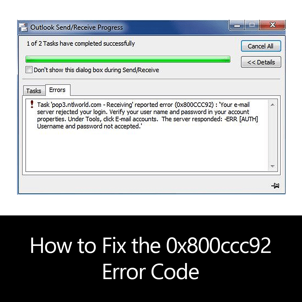 How to Fix the 0x800ccc92 Error Code