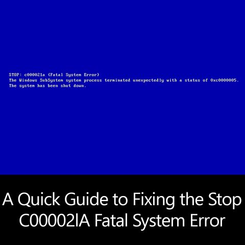 A Quick Guide to Fixing the Stop C00002lA Fatal System Error