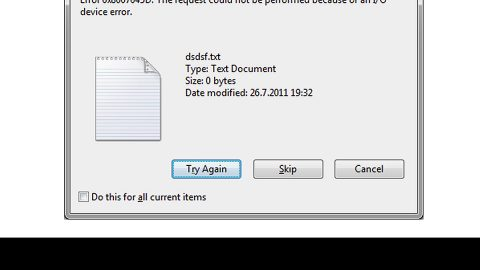 A Quick Way to Fixing Error 0x8007045D