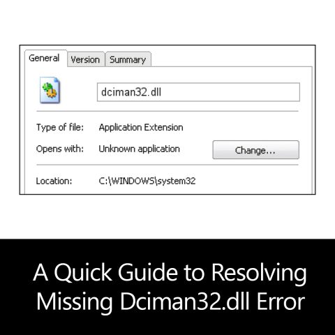 A Quick Guide to Resolving Missing Dciman32.dll Error