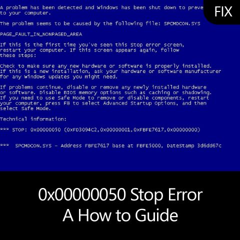 0x00000050 Stop Error – A How to Guide