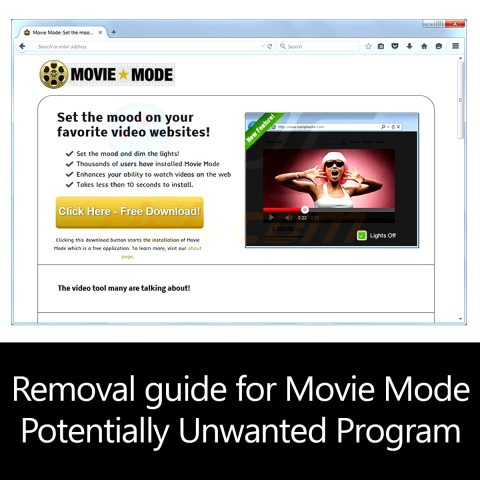 Removal guide for Movie Mode Potentially Unwanted Program