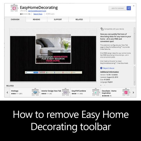 How to remove Easy Home Decorating (easyhomedecorating.com) toolbar