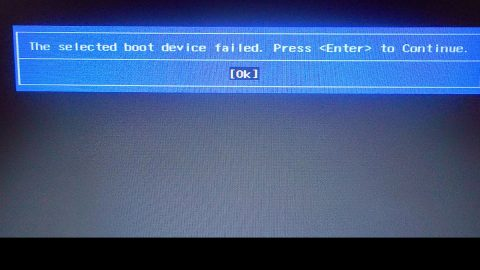 The selected boot device failed in Windows
