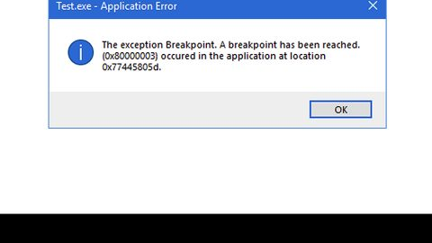A breakpoint has been reached, 0x80000003