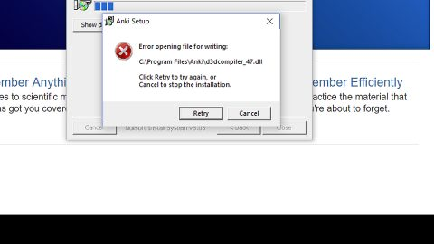 Error opening file for writing on Windows 10