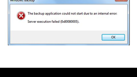 The backup application could not start due to an internal error