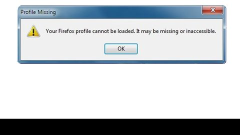 Your Firefox profile cannot be loaded, It may be missing or inaccessible