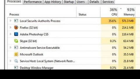 terminated lsass.exe Process and its high CPU or disk usage