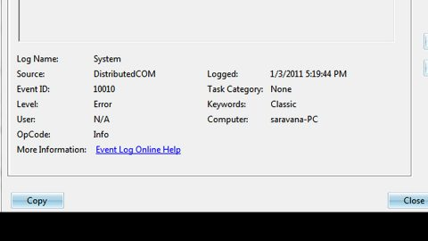 The server did not register with DCOM within the required timeout