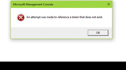 An attempt was made to reference a token that does not exist