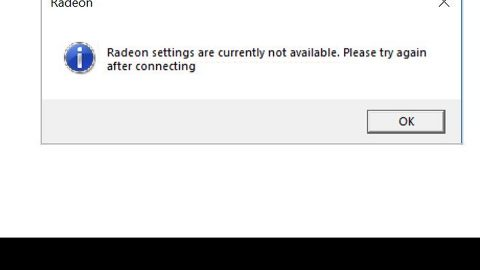 Radeon Settings are currently not available