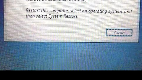 To use System Restore you must specify which Windows installation to restore