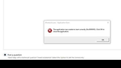 Application failed to initialize 0xc0000005