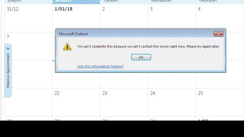Outlook We are unable to connect right now
