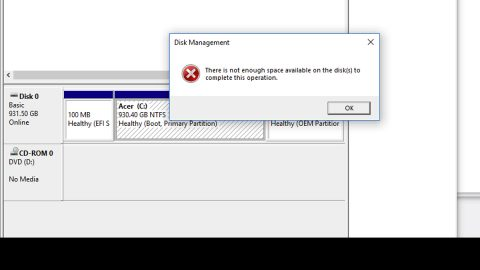 There is insufficient disk space to complete operation