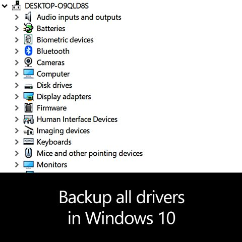 Backup all drivers in Windows 10