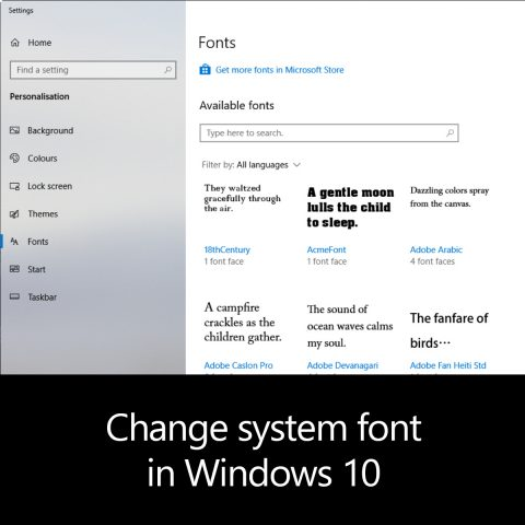 Change system font in Windows 10