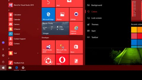 Changing color of START menu in Windows 10