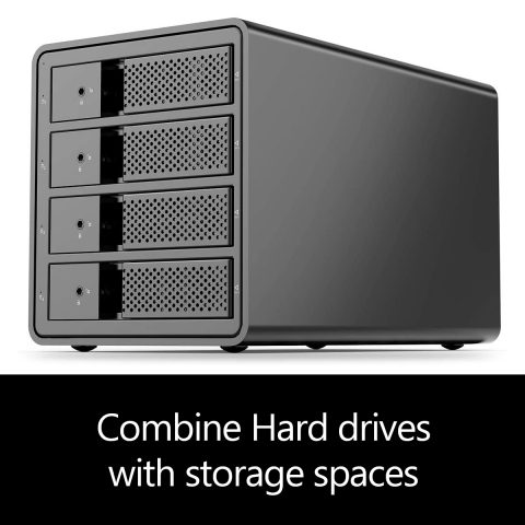 Combine Hard drives with storage spaces