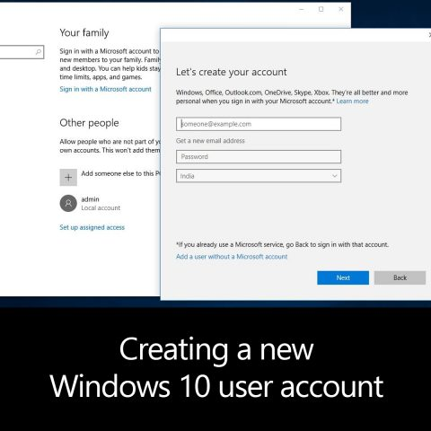 Creating a new Windows 10 user account