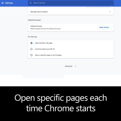 Open specific pages each time Chrome starts