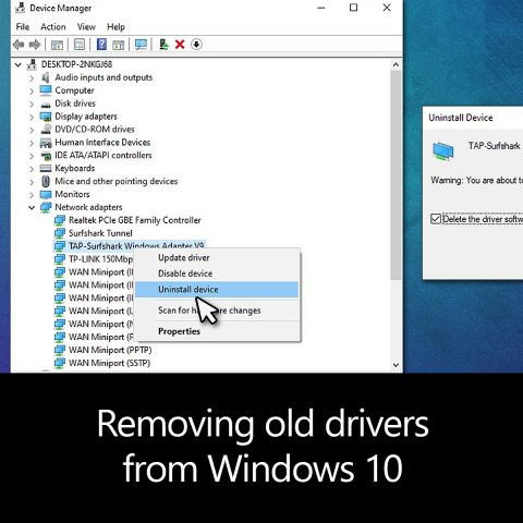 Removing old drivers from Windows 10