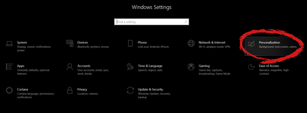 Windows 10 settings menu with marked Personalization group