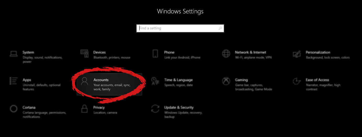 Windows settings accounts section selected
