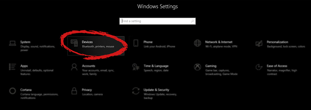 Windows settings with marked devices section