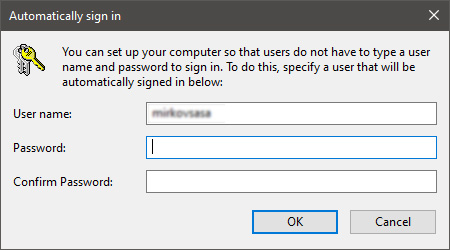 automatically sign in dialog