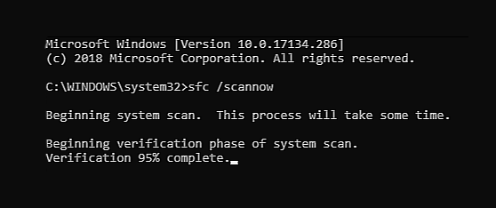 command prompt SFC scan