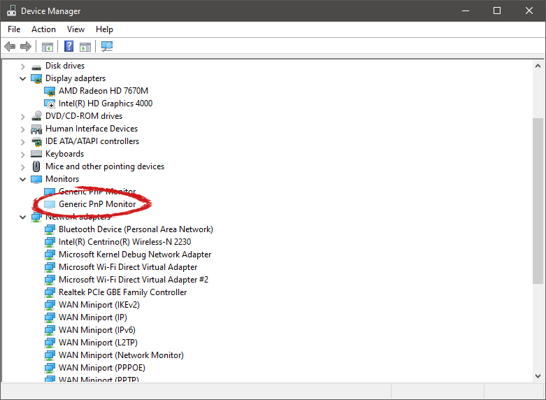device manager hidden device shown