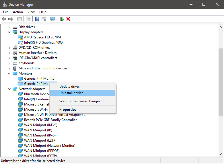 device manager uninstall device driver