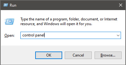 run dialog with control panel typed in