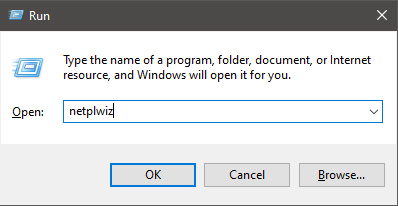 run dialog with netplwiz typed in