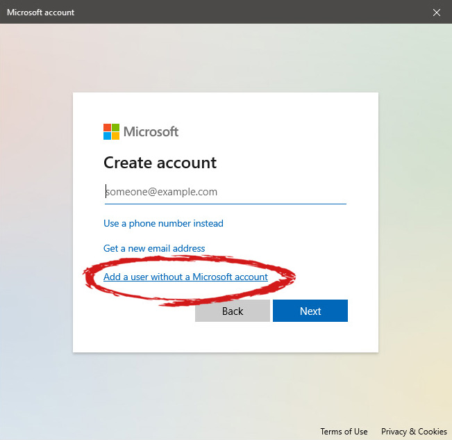 user account new account without ms id