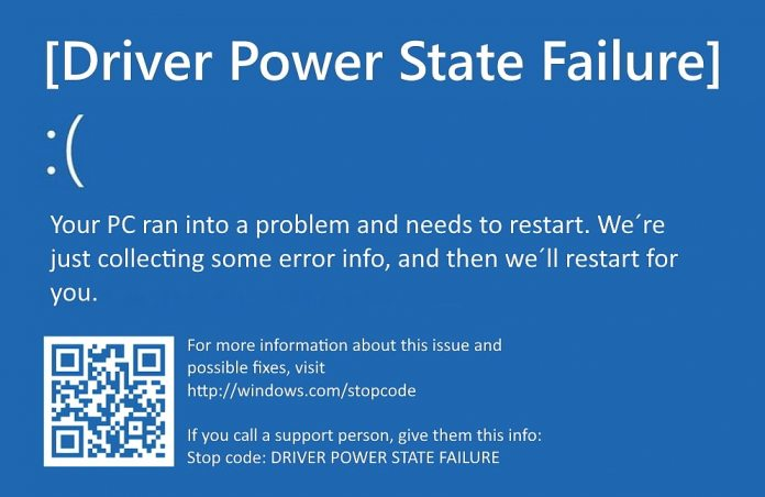 Blue screen of death driver power state failure