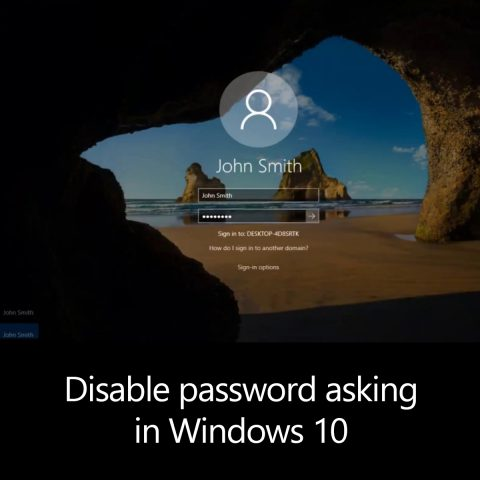 Disable password asking in Windows 10