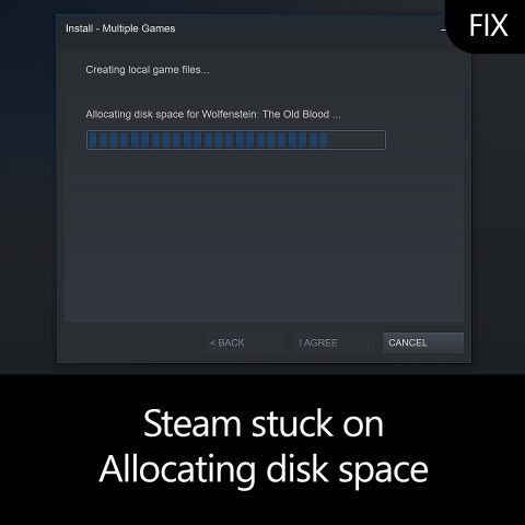 Steam stuck on Allocating disk space