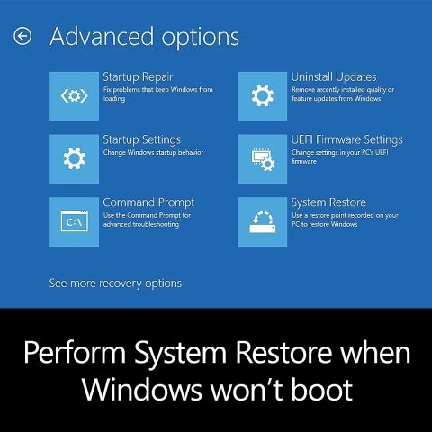 system restore with no boot