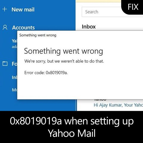 0x8019019a when setting up Yahoo Mail