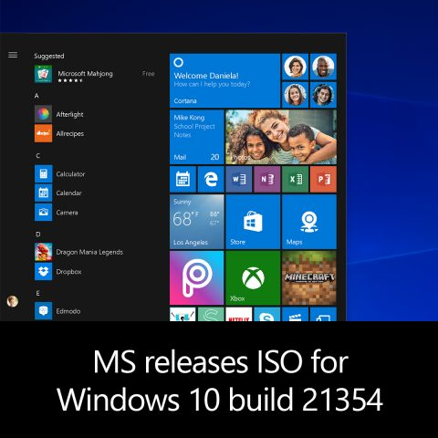 MS releases ISO for Windows 10 build 21354