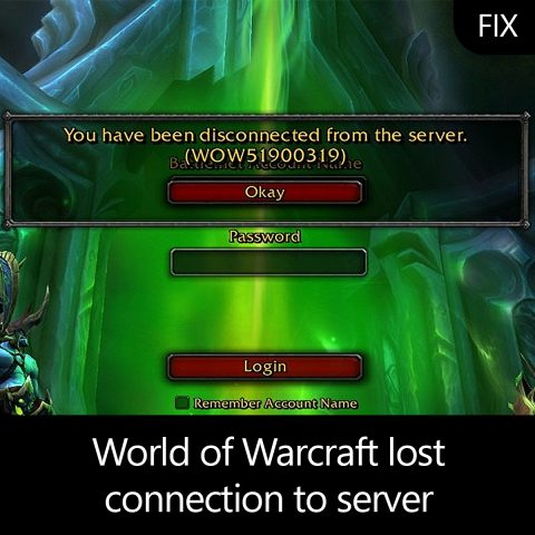 World of Warcraft lost connection to server