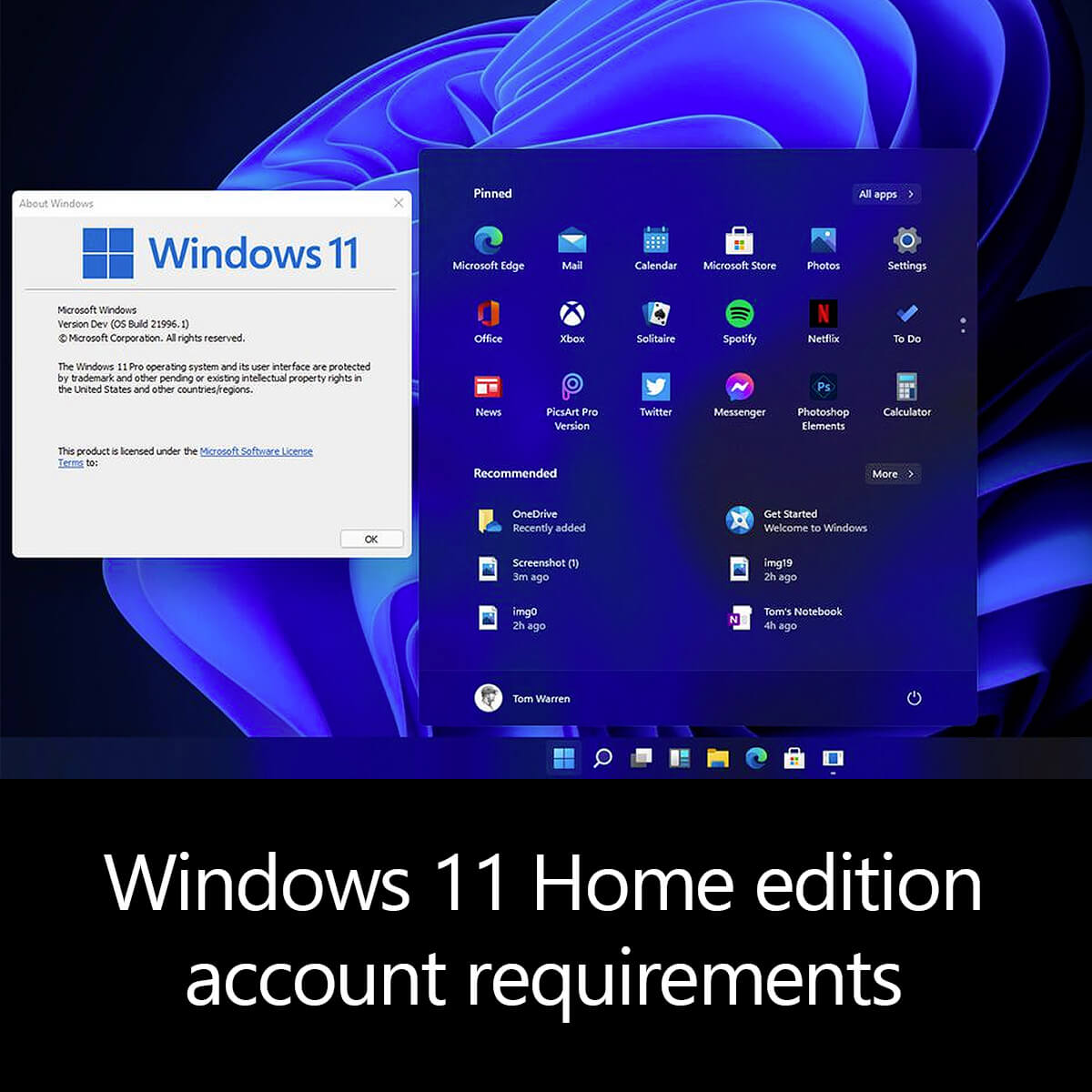 Windows 11 Home edition account requirements